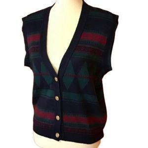 Vintage 80s argyle print cardigan vest